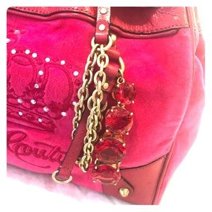 Juicy Couture Pink Velvet Bling Tote Bag Purse